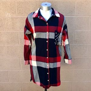 •Zara• Women's Flannel Button Button-down Dress